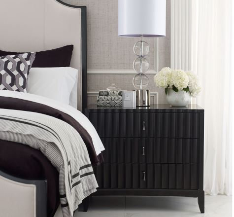 Black Three Drawer Bedside Chest with Outlet and USB