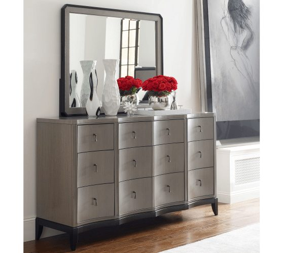 Grey 9 Drawer Dresser with Beveled Mirror