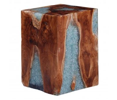 Wood and Clear Glass Square Side Table
