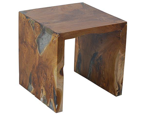Glass and Wood U Shaped Side Table