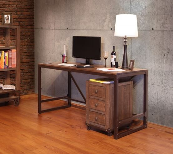 Wood Top Iron Base Desk