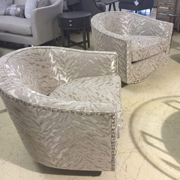 Michael Amini Beautiful Upholstered Swivel Chairs