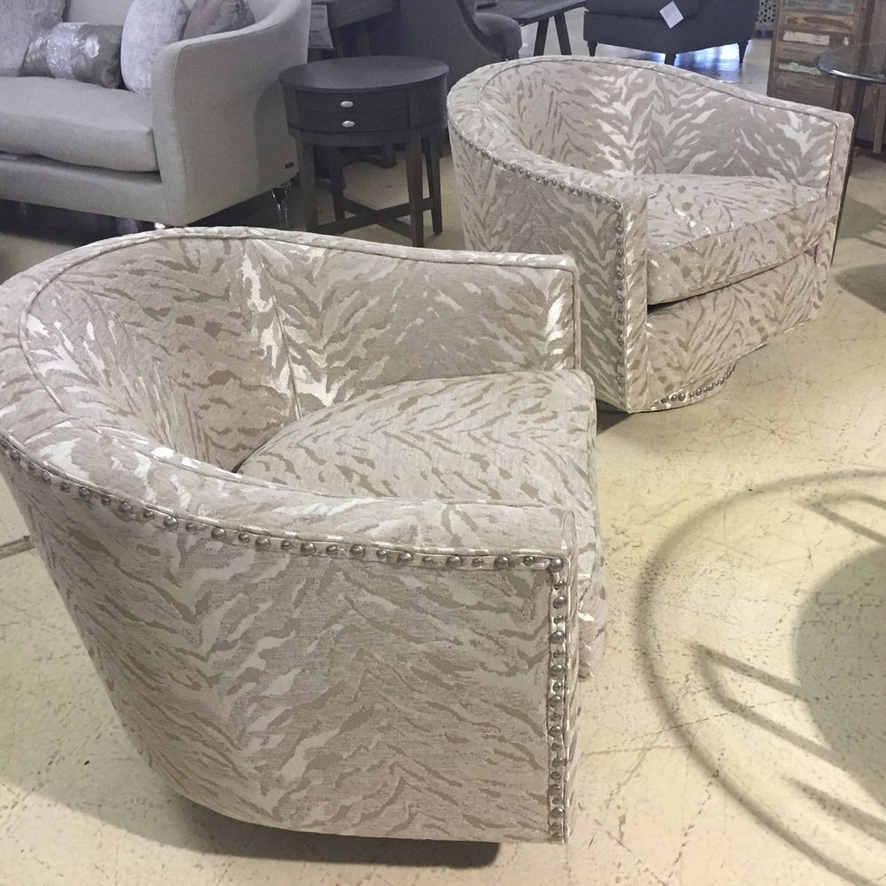 Michael Amini Beautiful Upholstered Swivel Chairs