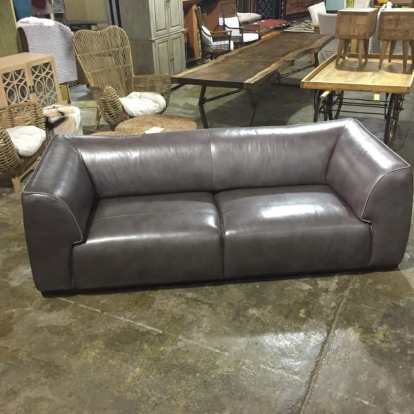 Manhattan Modern Grey Leather Sofa