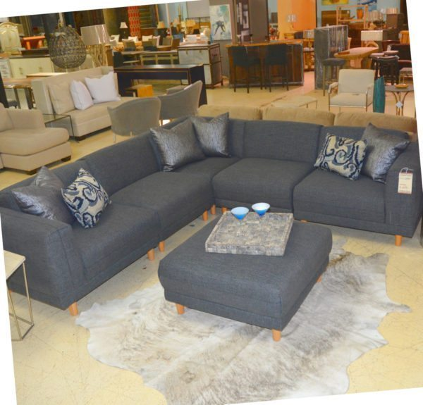 Five Piece Grey Sectional And Ottoman Horizon Home Furniture