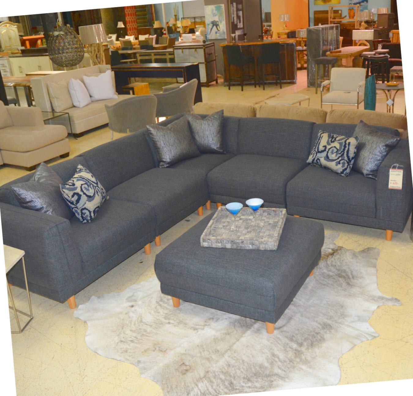 Five piece grey sectional and ottoman horizon home furniture for Cheap modern furniture in atlanta ga