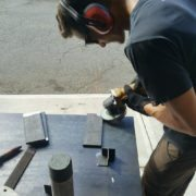 Atlanta craftsman-working-on-steel legs for live edge table