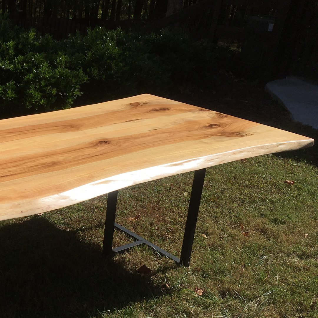 Pecan Wood Furniture Dining Room: Live Edge Pecan Wood Table