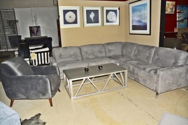 Gray Sectional Sofa w/chrome metal feet