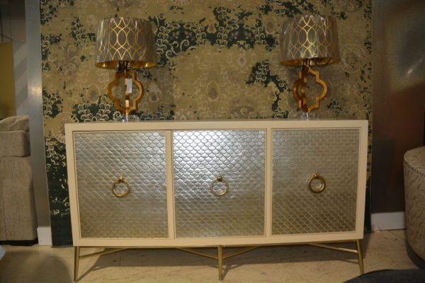 White wood sideboard w/ gold scale front design