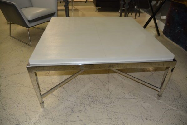 Leather top coffee table w/ chrome base
