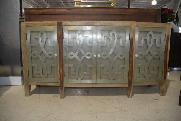 Wood Sideboard w/ 4 designed metal doors
