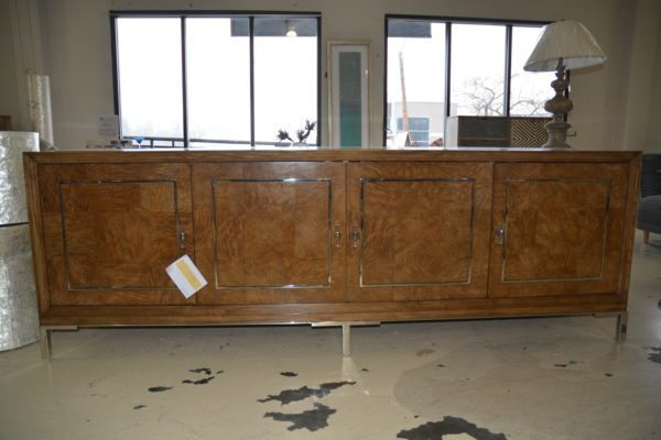 Sklar wood sideboard 4 doors trimmed in gold w/gold metal base