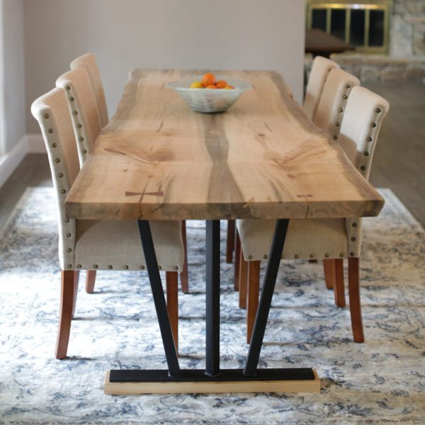 Live Edge Locally Crafted Spalted Ambrosia Maple Table with Chairs