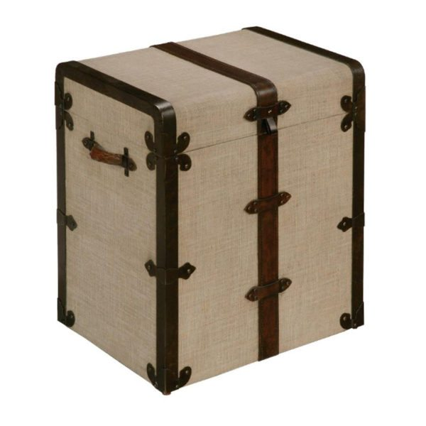 Laurel House Trunk with Linen cover and Leather Handles and Accents