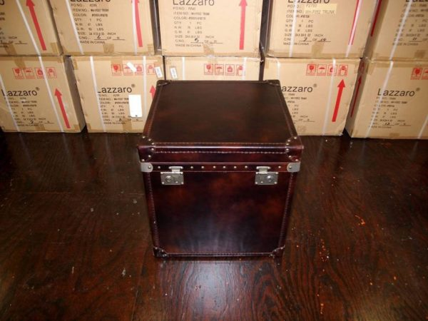 Brown Leathe Trunk End Table