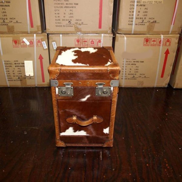 Cow hide and Brown Leather End Table 3 Drawer 918px
