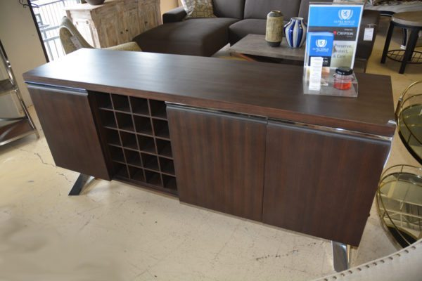 Dark Brown Media Cabinet with Silver Trim