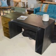 Eclectic Indusrial Steel Black Desk Gold Shelves