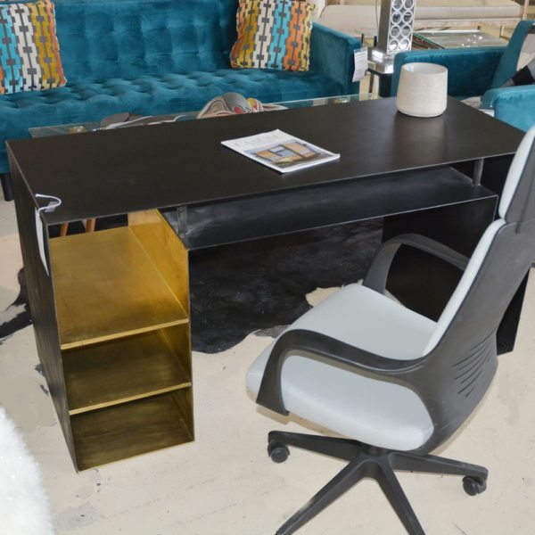 Eclectic Indusrial Steel Black Desk with Gold Accents