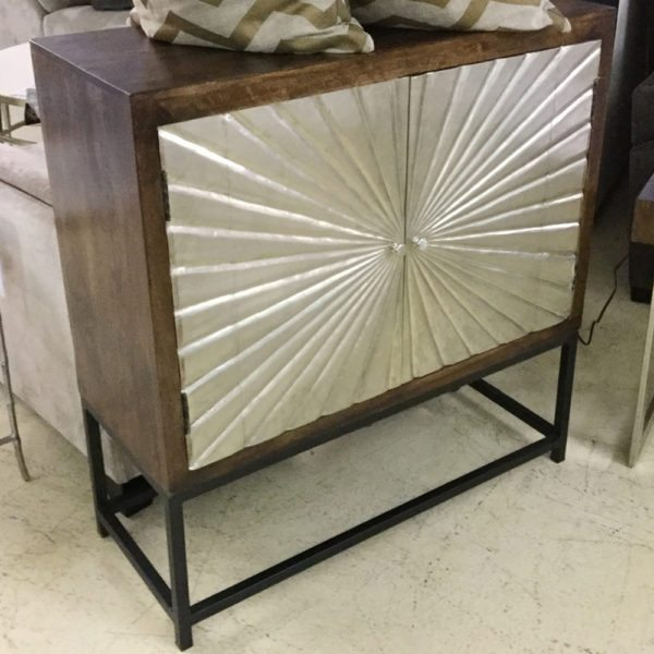 2 Door Silver Sunburst Cabinet