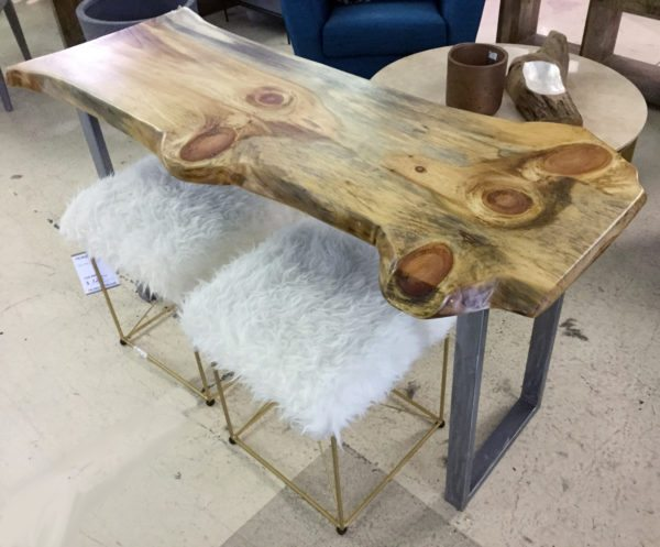 Live Edge Console and 2 fur ottos