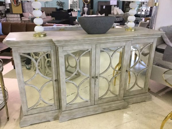 White Mirrored Cabinet with Circles 1500