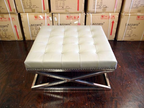 cream grey Leather and Chrome Ottoman