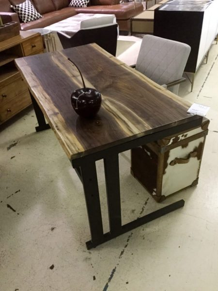Live Edge Desk With Black Metal Base