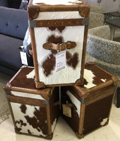 Luckenbach Cow -Hide Side Table