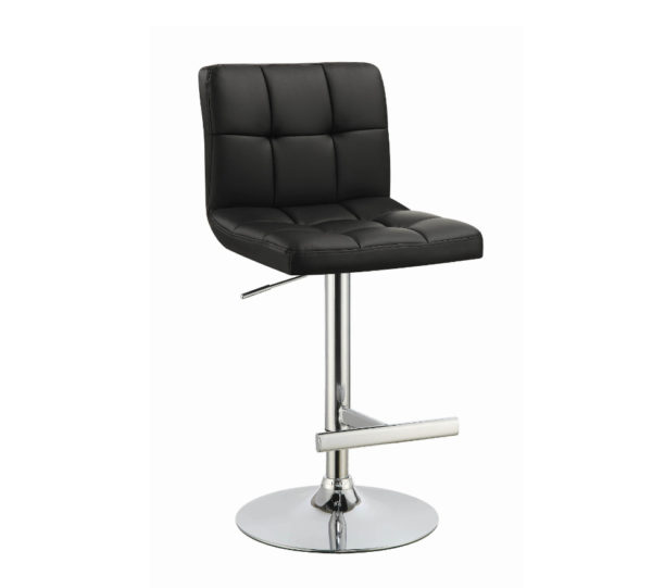 Black Pleated Barstool w Chrome Adjustable