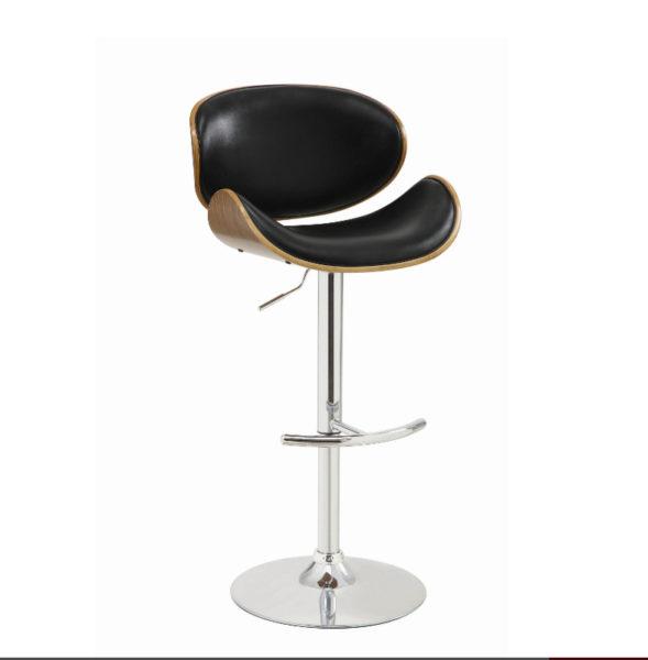 Como Black Faux Leather Adjustable Barstool