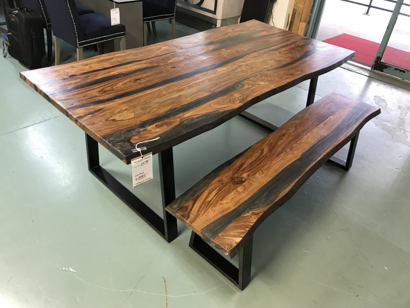 Surprising Live Edge Table W Matching Bench Gmtry Best Dining Table And Chair Ideas Images Gmtryco