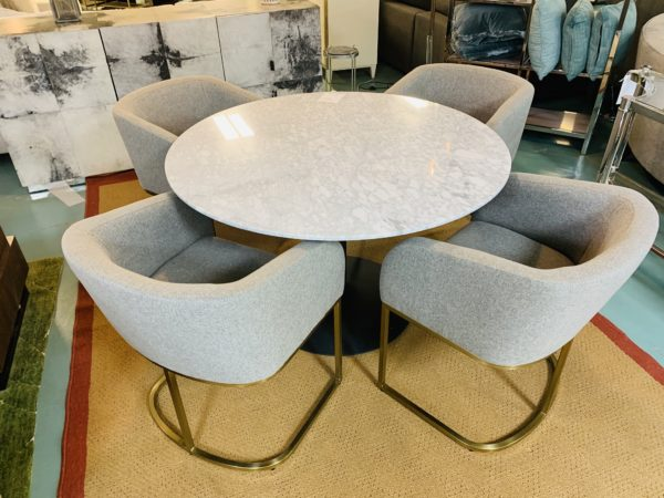 Mondavi White Marble Table with Chairs